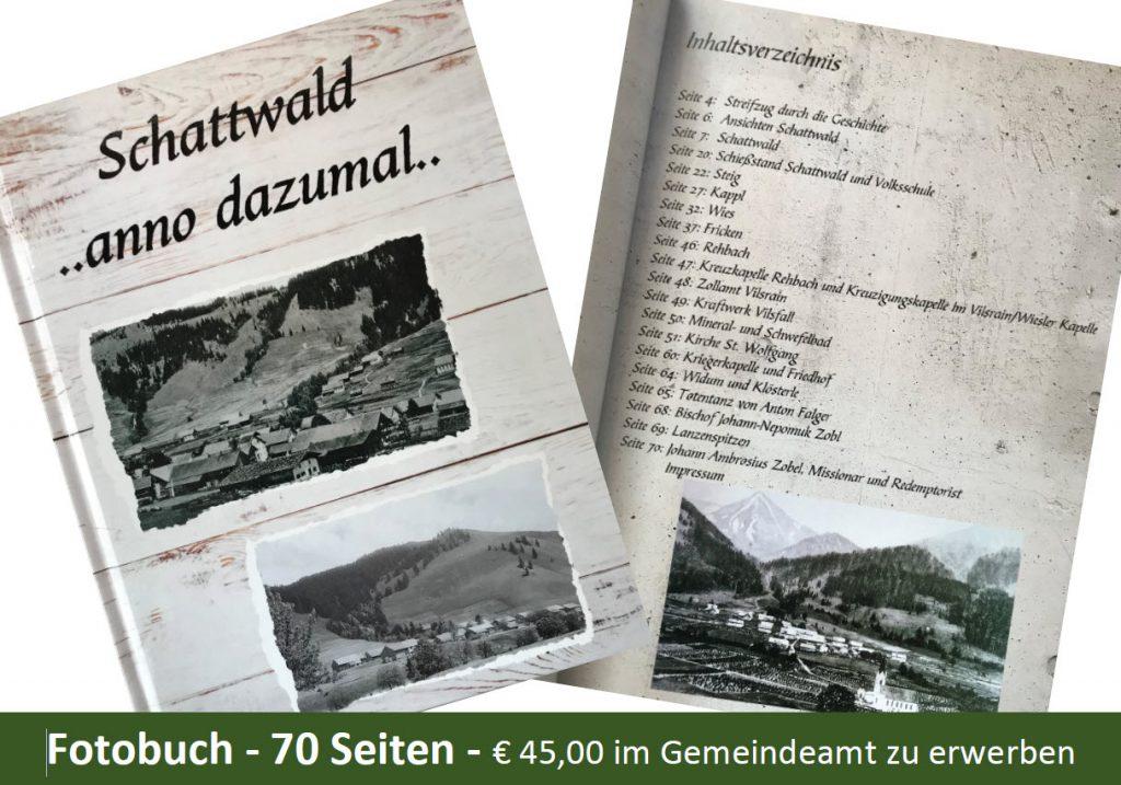 Fotobuch Schattwald anno dazumal... im Gemeindeamt zu erwerben